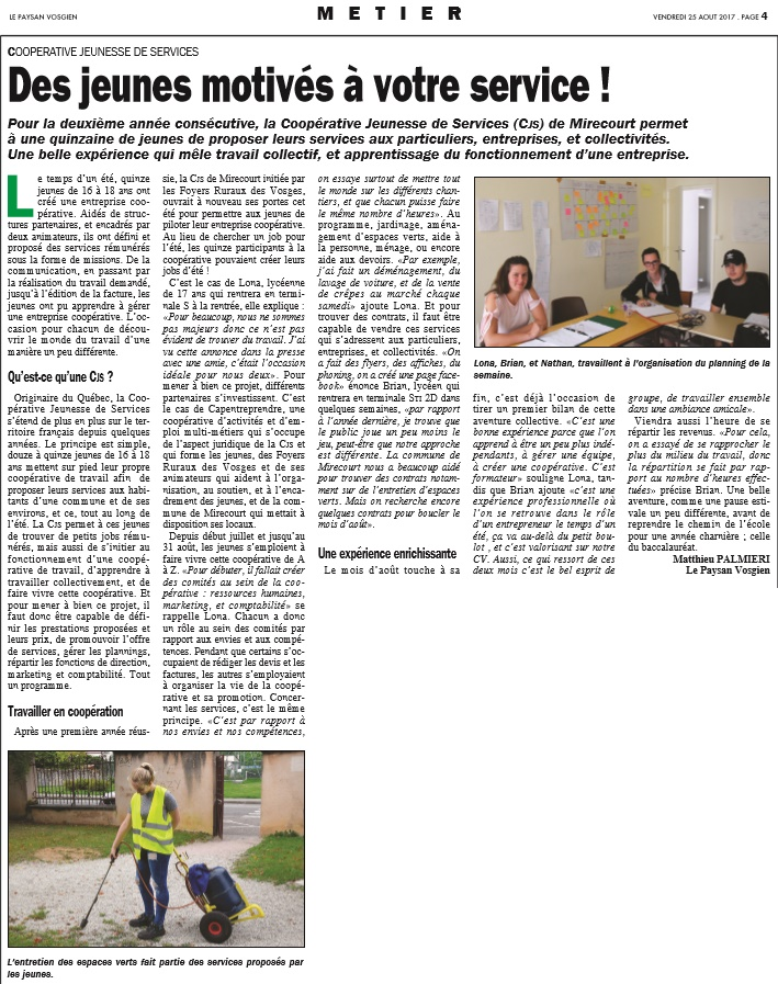 Paysan Vosgien CJS 25 Août 2017