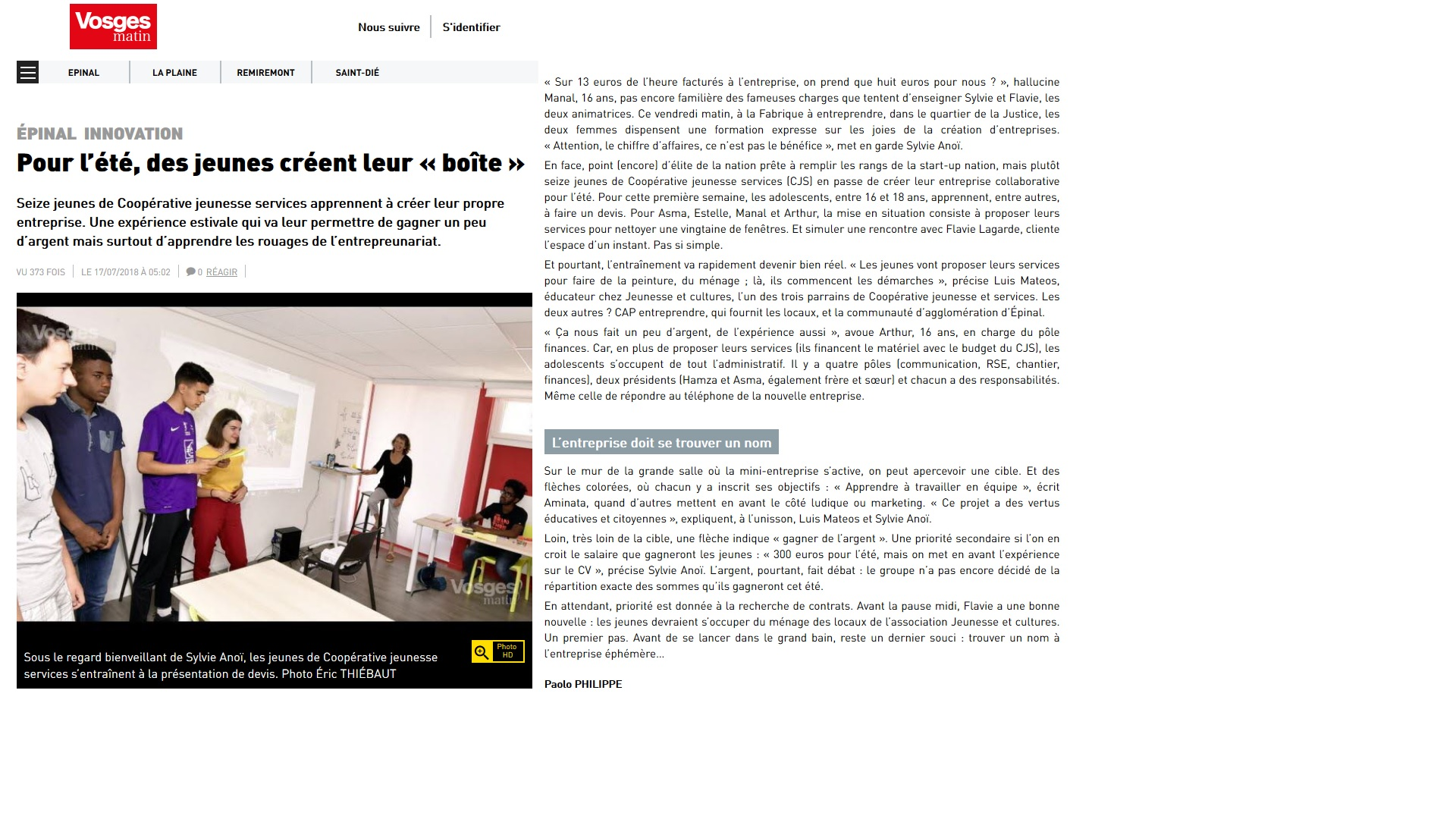 Vosges Matin_CJS_EPINAL_17_07_18