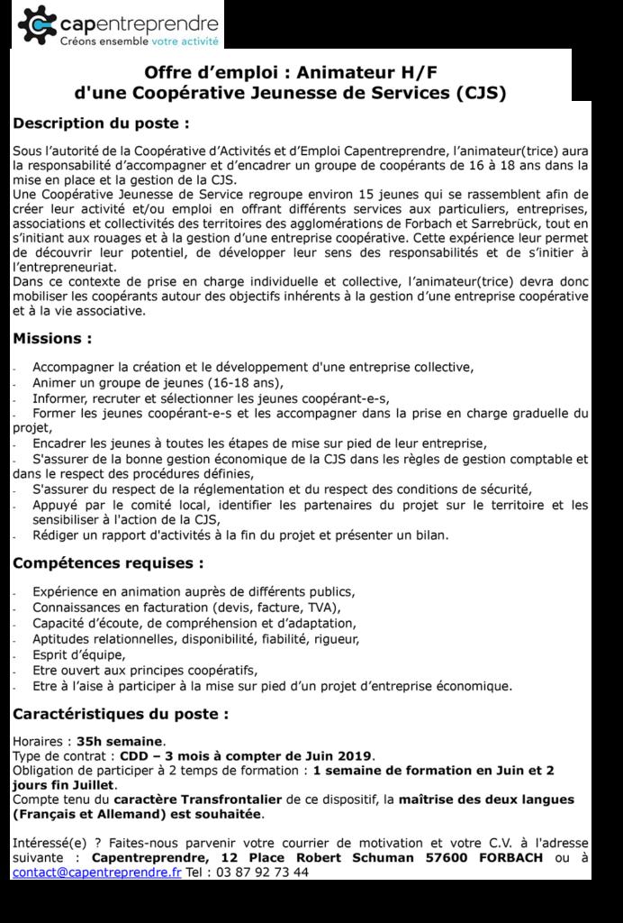 Offre d'emploi Animateur CJS